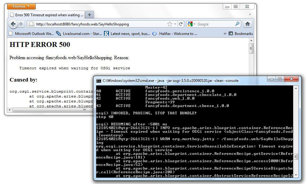 Blueprint and service dynamism in osgi figure 4 if a blueprint service is unregistered after services that depend on it have been invoked the proxy to the service will block for five minutes malvernweather Gallery