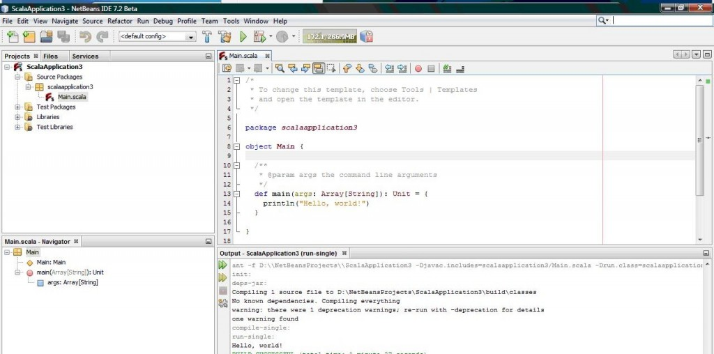 HelloWorld with Netbeans 7 2 and Scala 2 9