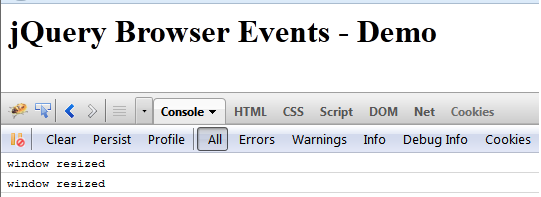 jQuery Event Handling - Browser Events