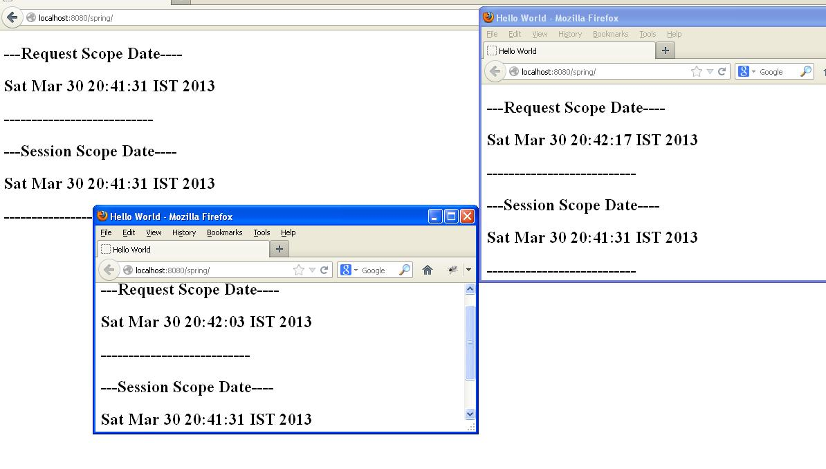 Spring bean scopes request session global session with example output baditri Choice Image