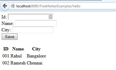 FreeMarker Template + Servlet Integration Example