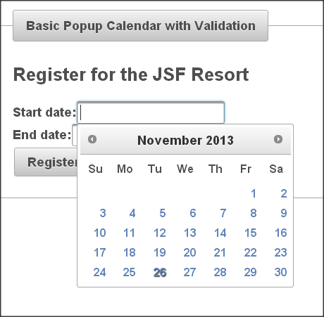 PrimeFaces Calender Example