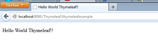 Thymeleaf Hello World Example