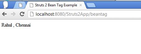Struts 2 Bean Tag Example Screen