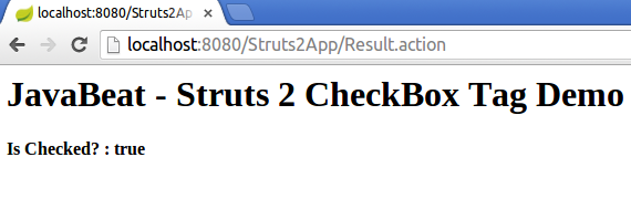 struts2 checkbox tag example output screen