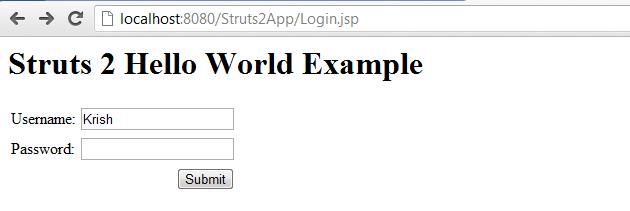 Struts 2 Hello World Example Input Fields