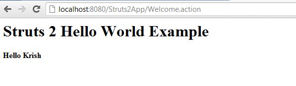 Struts 2 Hello World Example Result
