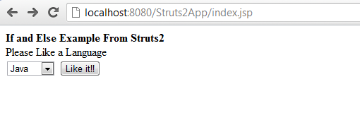 Struts 2 if and else example input screen