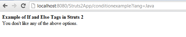 Struts 2 if and else example output screen