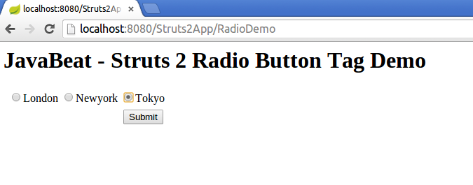 struts2 radio tag example input screen