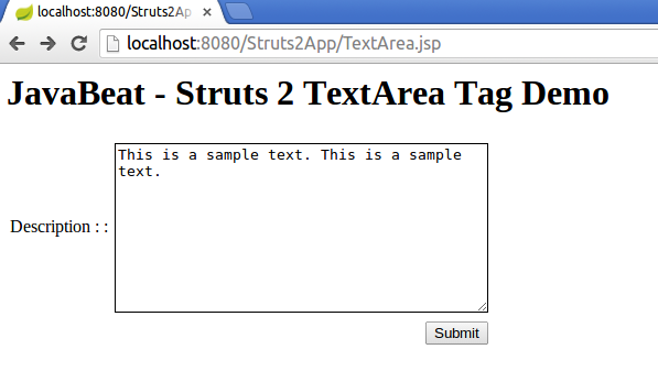struts2 textarea tag example input screen
