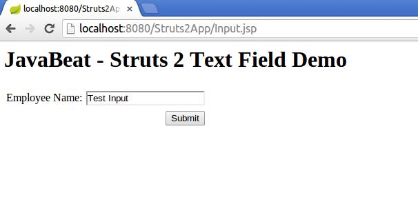 struts2 textfield tag example input