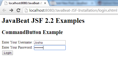 JSF 2 CommandButton Example 1