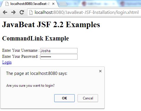 JSF 2 CommandLink Example 2