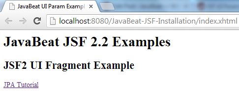 JSF 2 UI Fragment Example1