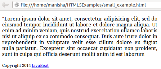 HTML5 Small Element