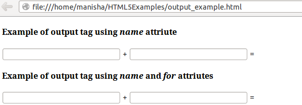 HTML5 Output Tag