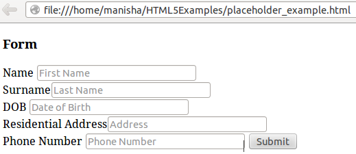 HTML5 Placeholder Attribute