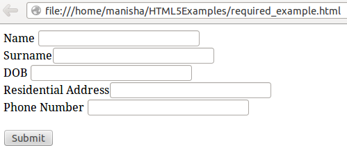 HTML5 Required Attribute