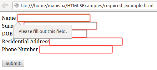 HTML5 Required Attribute1