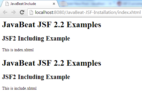JSF 2 Include Example