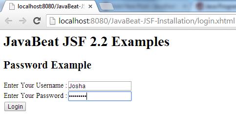 JSF 2 InputSecret Example 1