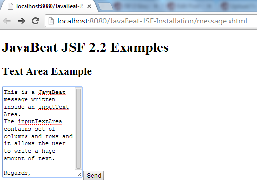 JSF 2 InputTextArea Example 1
