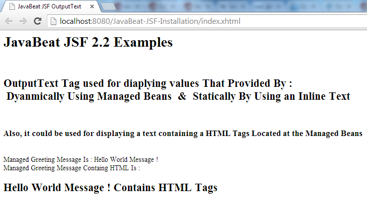 JSF 2 OutputText Example