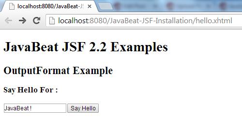 JSF 2 OutputFormat Example 1