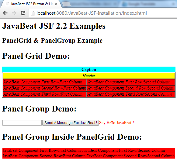 JSF 2 PanelGrid & PanelGroup Example