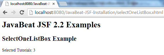 JSF 2 SelectOneListBox Example 2