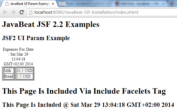JSF 2 UI Param Example