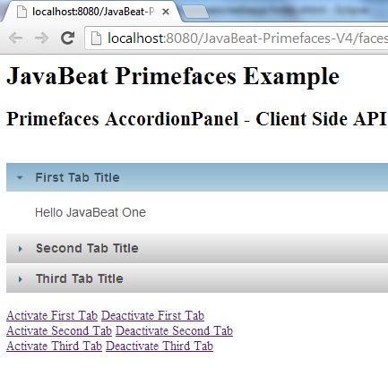 Primefaces AccordionPanel Client Side API Example
