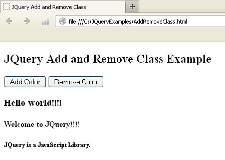How To Add / Remove CSS Class Dynamically In JQuery