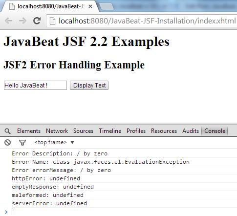 JSF 2 Error Handling Example