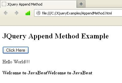 JQuery Append Method Example
