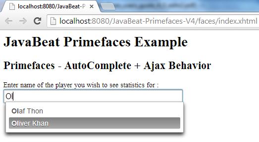 AutoComplete AjaxBehavior Example 1
