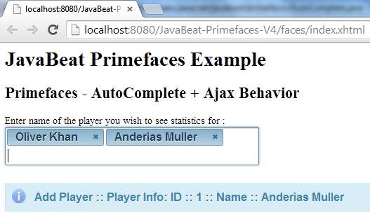 AutoComplete AjaxBehavior Example 2