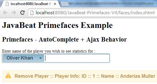 AutoComplete AjaxBehavior Example 3