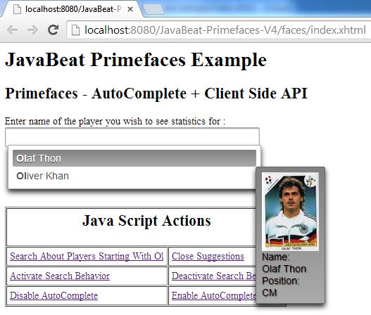 AutoComplete Pojo + ClientSide