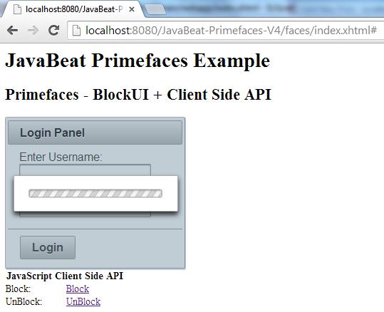 Primefaces BlockUI Example 1