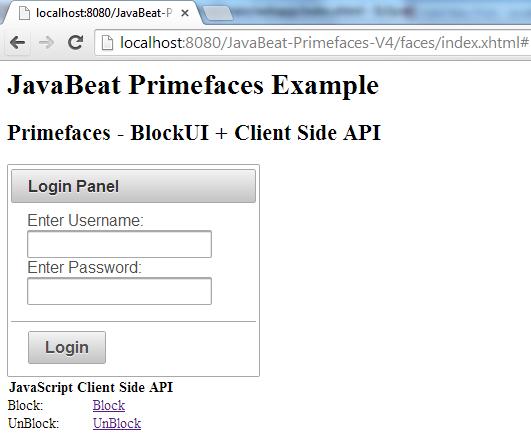PrimeFaces BlockUI + Client Side API Example
