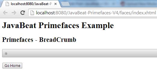 Primefaces - BreadCrumb Example 1