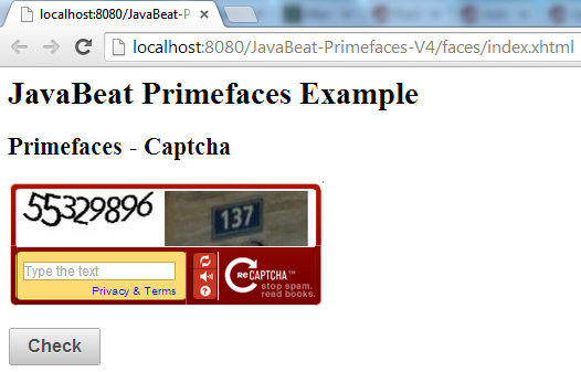 Primefaces Captcha Example Demo