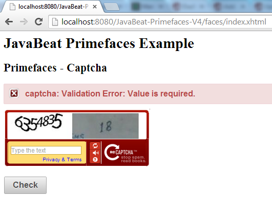 Primefaces Captcha Example 2