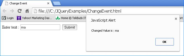 JQuery Change Event Example