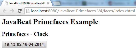 Primefaces Clock Example