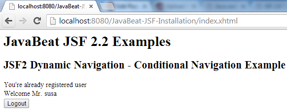 JSF 2 Conditional Navigation Example 2
