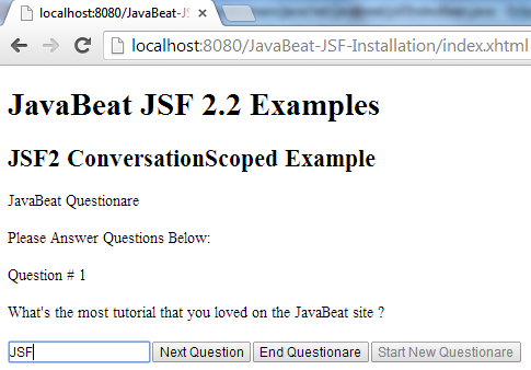 JSF 2 Conversation Scope Example 3