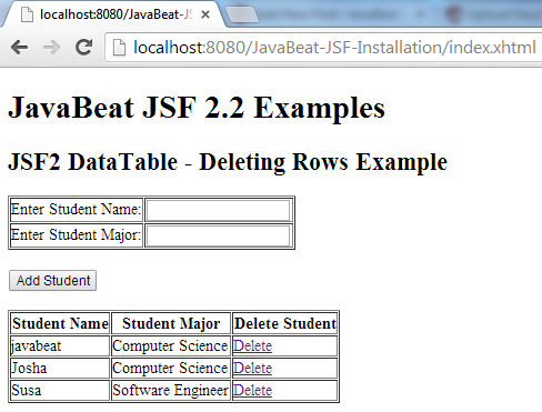 JSF 2 DataTable Delete Row Example